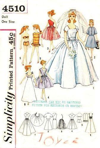VINTAGE simplicity BARBIE PATTERN 4510 sewing pdf pattern. $3.75 ...