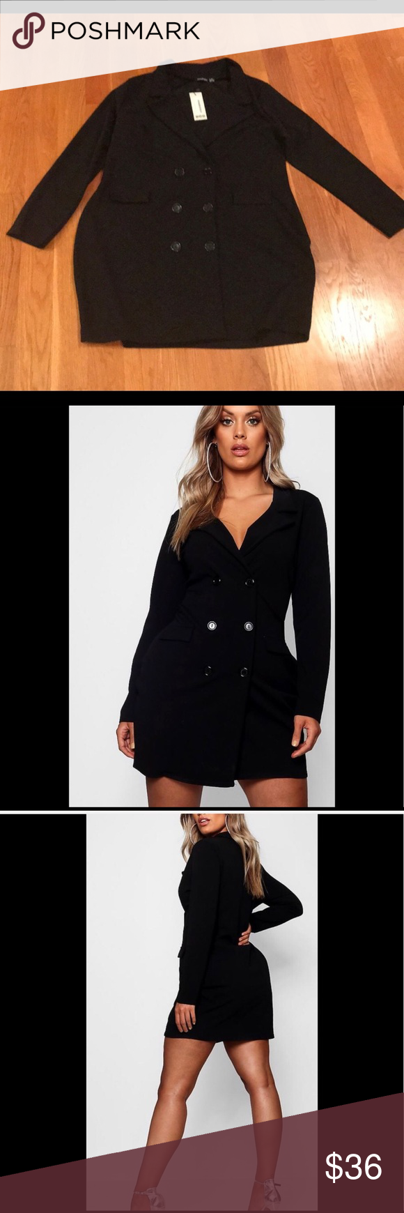 39771096467b Boohoo Dress size 20 Black Blazer Dress NWT Boohoo Plus Laura Scuba Black Blazer  Dress Size 20 New with tags Boohoo Plus Dresses Midi