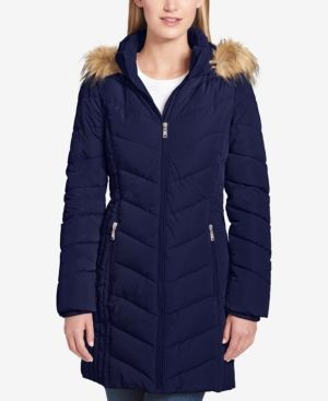 aa1cd8772 Tommy Hilfiger Petite Faux-Fur-Trim Chevron-Quilted Puffer Coat ...