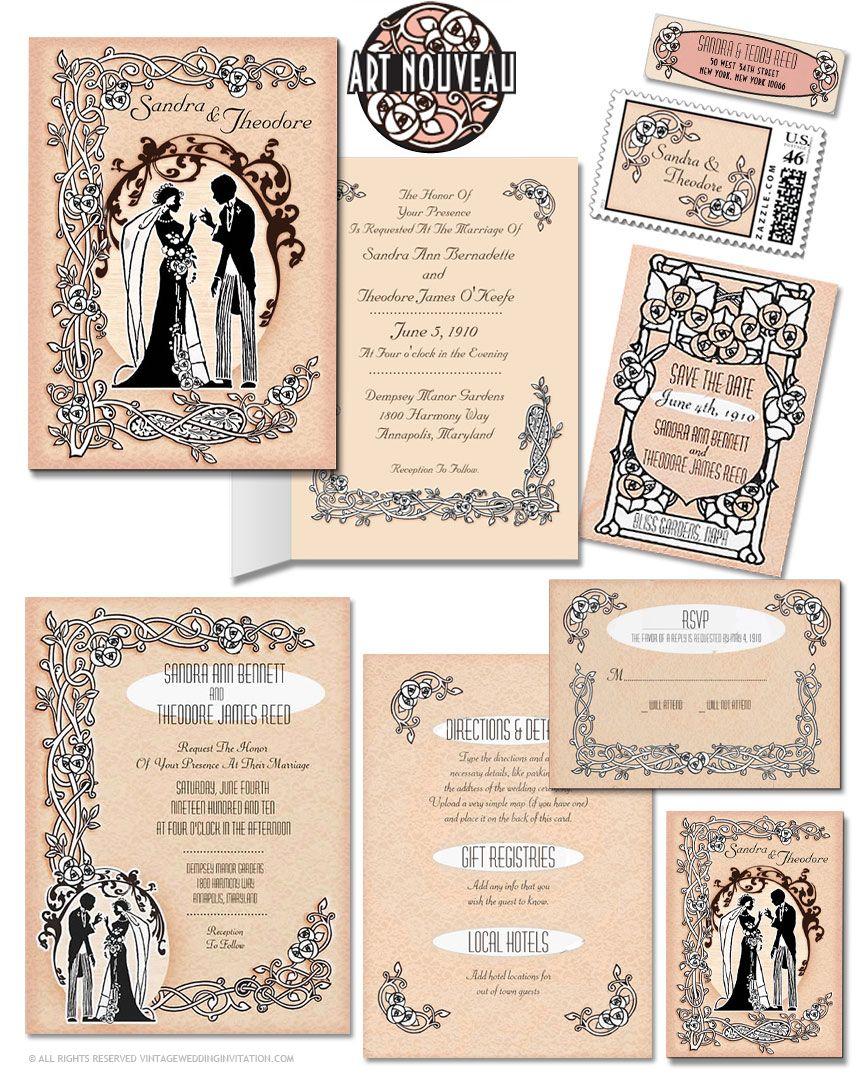 Art Nouveau Wedding Invitation 1920s Wedding Invitations Art Nouveau Weddings