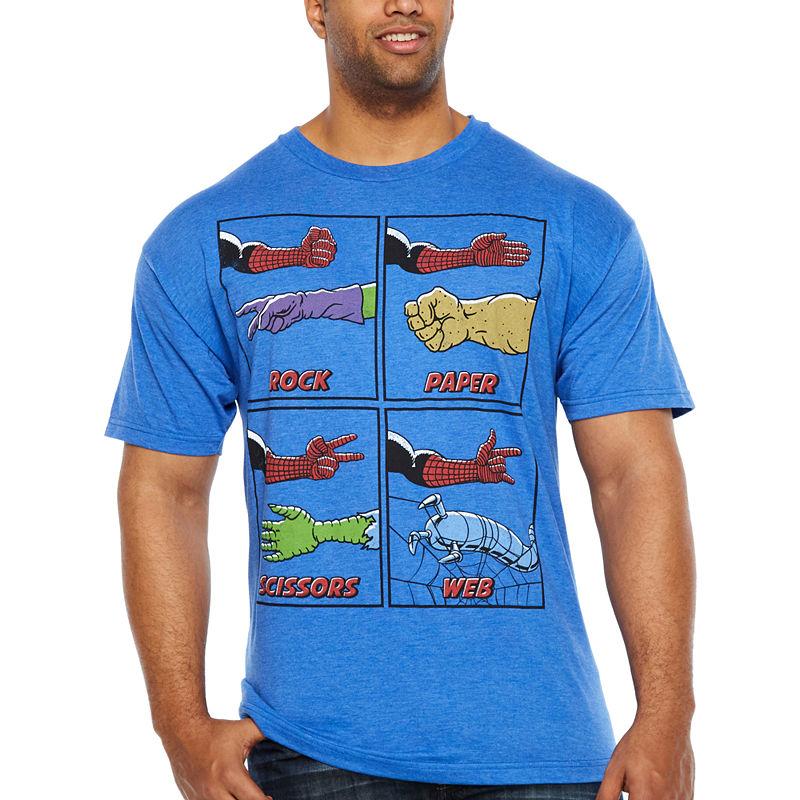 192b19529 Spiderman Web Wins Mens Crew Neck Short Sleeve Marvel Graphic T-Shirt-Big  and Tall