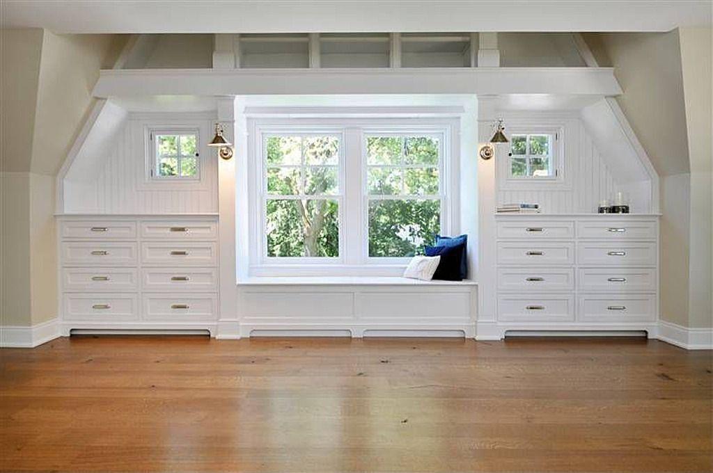 Built In Dressers Below Window With Seat Nook Attic
