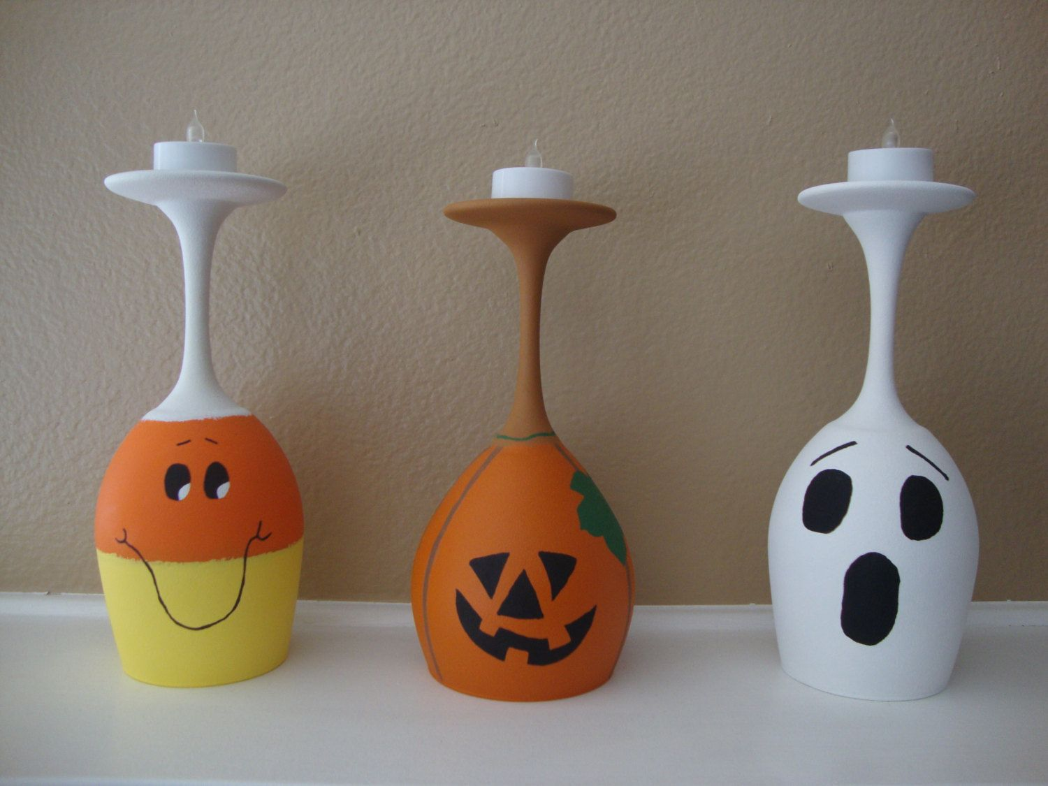 Pumpkin Ghost Candy Corn Set Of 3 Wine Glass Candle