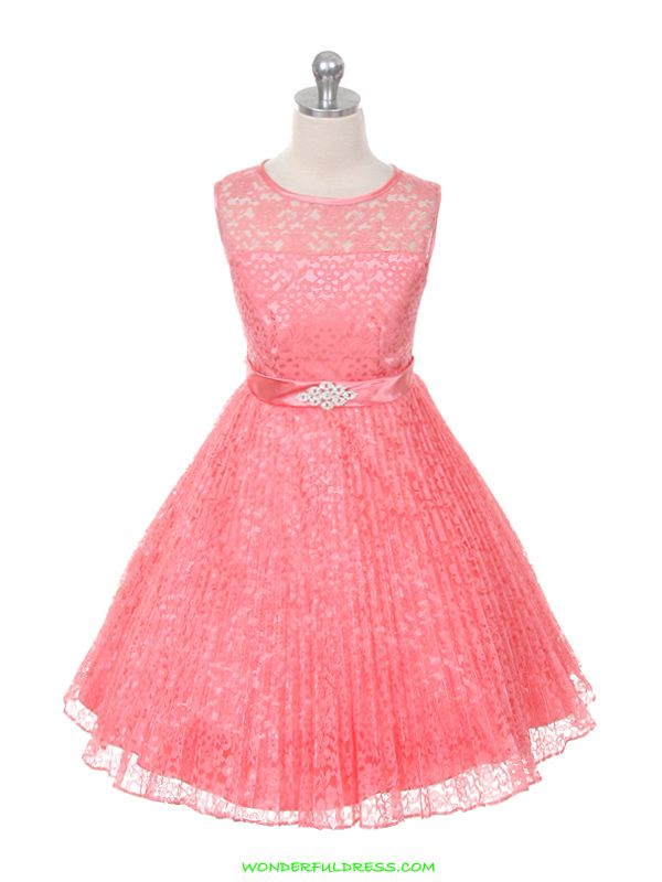 Coral Elegant Pleated Lace Flower Girl Dress