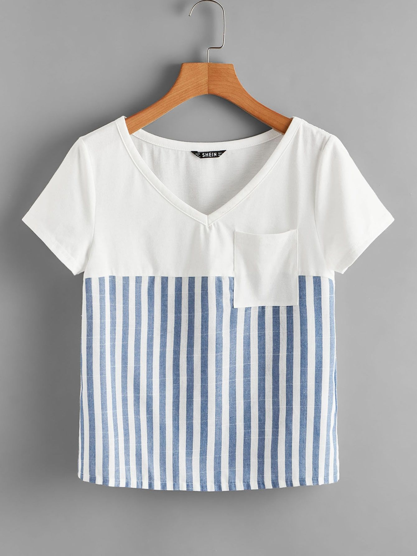 T Shirty Kieszen W Paski Wielokolorowe Codzienny Moda T Shirty Kieszen W Paski Wielokolorowe Codzienny Shein Polska Tops Women S Fashion Dresses Clothes
