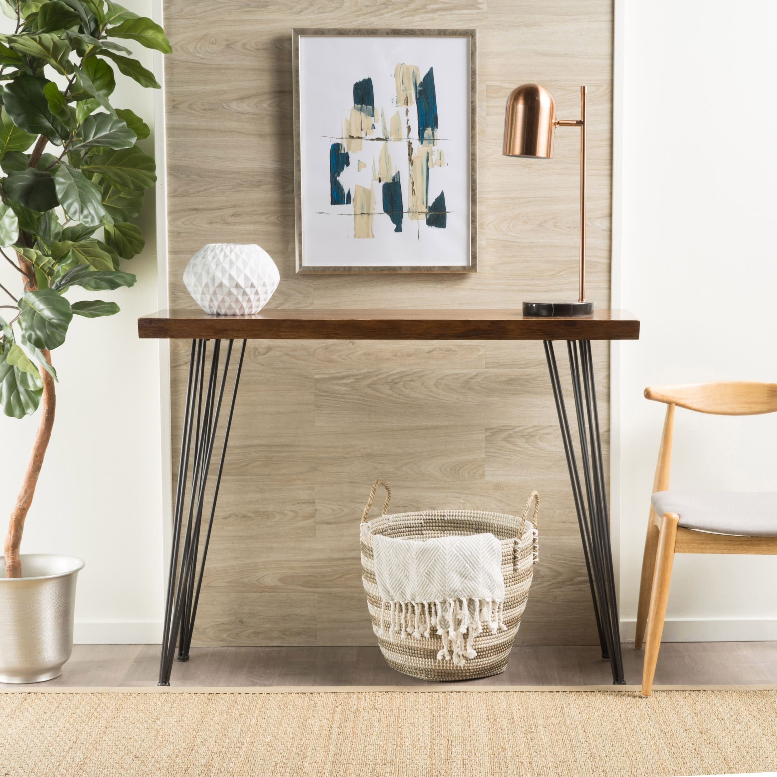 Remington natural wood live edge console table by christopher knight