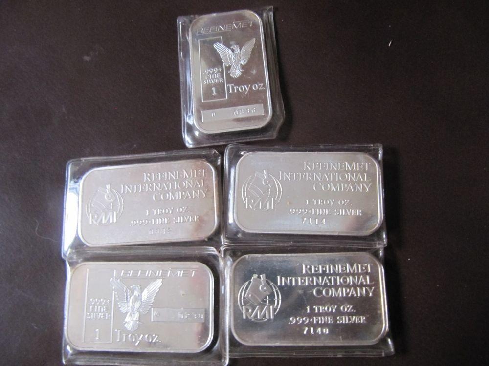 Lot Of 5 X 1 Oz Fine 999 Silver Bars Refinemet Vintage