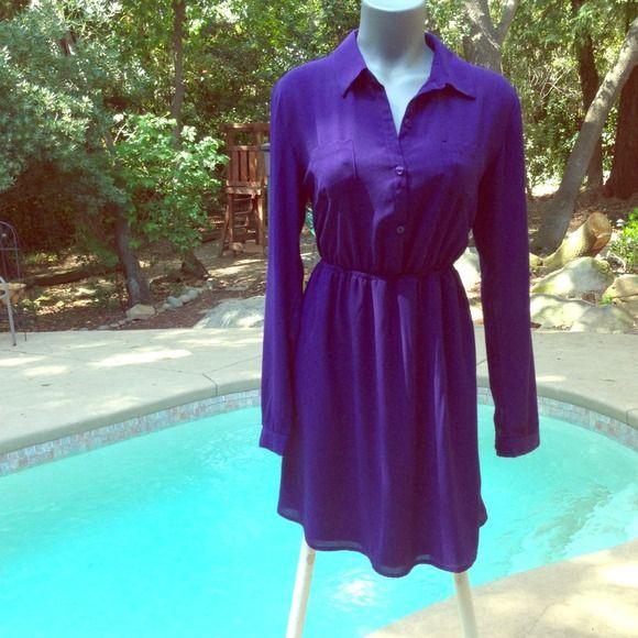 DEEP PLUM DRESS Pictures do not show how beautiful this dress is. Sheer flowing sleeves that can roll up. The bottom half of dress is lined. three buttons on top. Elastic waist. NEW WITH TAGS Dresses