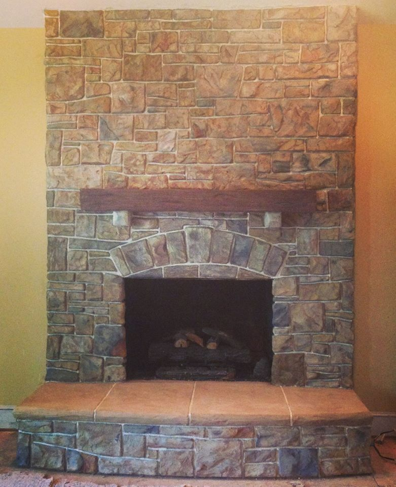 This Gorgeous Fireplace Was Made From Mortar We Scratched Out Free Hand And Stained To Match The Colors The Client W Gorgeous Fireplaces Mantle Piece Fireplace