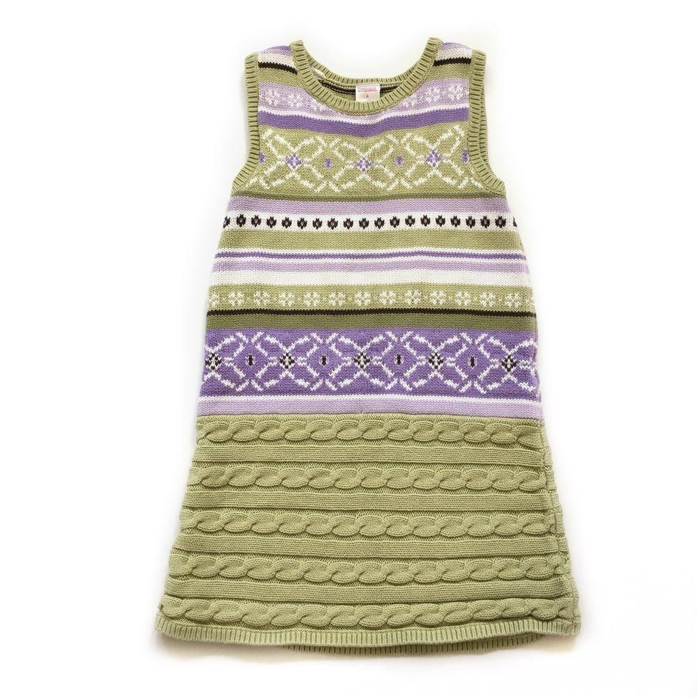 00f794e1181 Girls 6 Gymboree Green   Purple Fair Isle Sweater Knit Sleeveless Easter  Dress