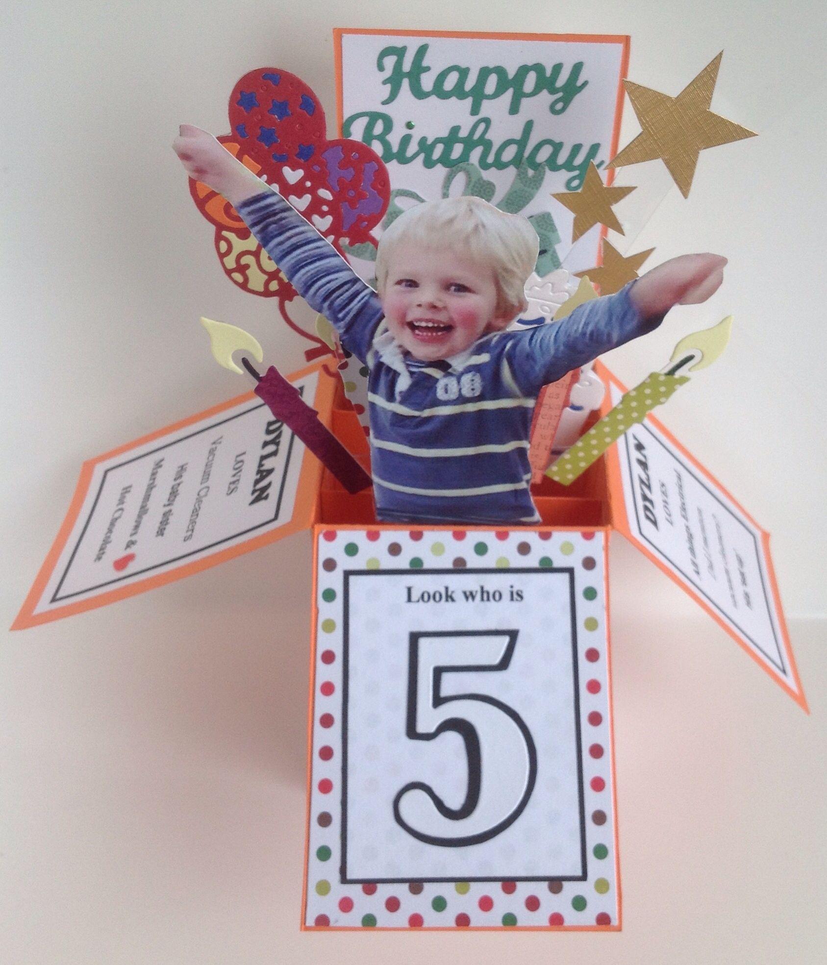 5th Birthday Card In A Box Boxed Birthday Cards Birthday Card Pop Up Box Cards Tutorial