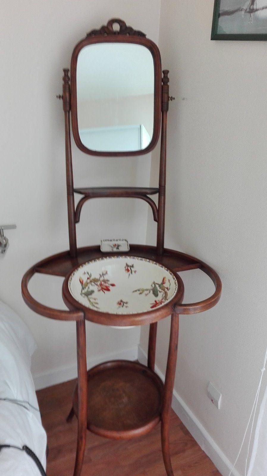 Table Meuble De Toilette Ancien Bois Courbe Avec Miroir