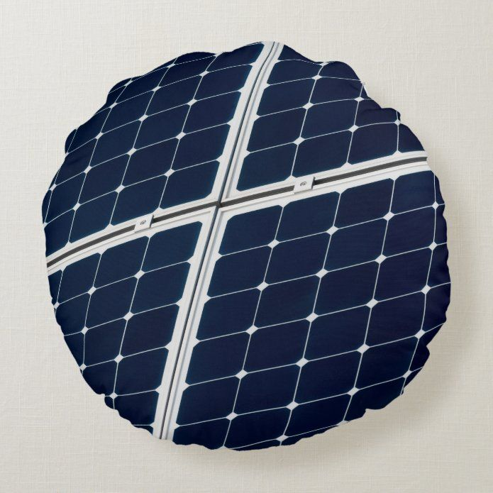Image of a solar power panel funny round pillow