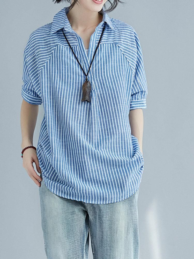9c667733b9 Stripe Print Irregular Casual Shirts. Stripe Print Irregular Casual Shirts  Affordable Clothes ...