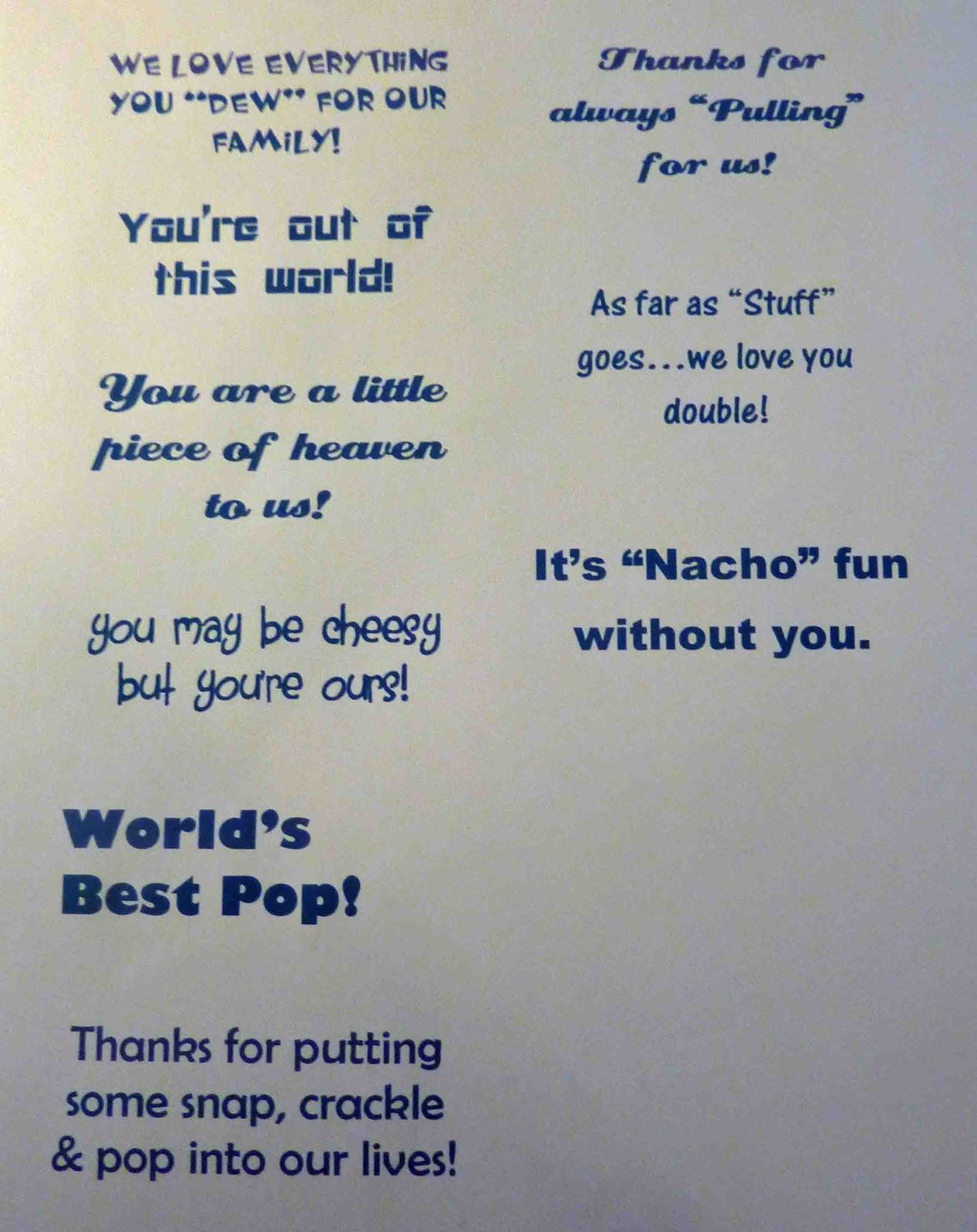 Fun sayings to go with different treats: Mountain Dew ...