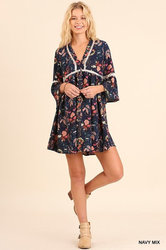 Floral Bell Sleeve Dress in Navy