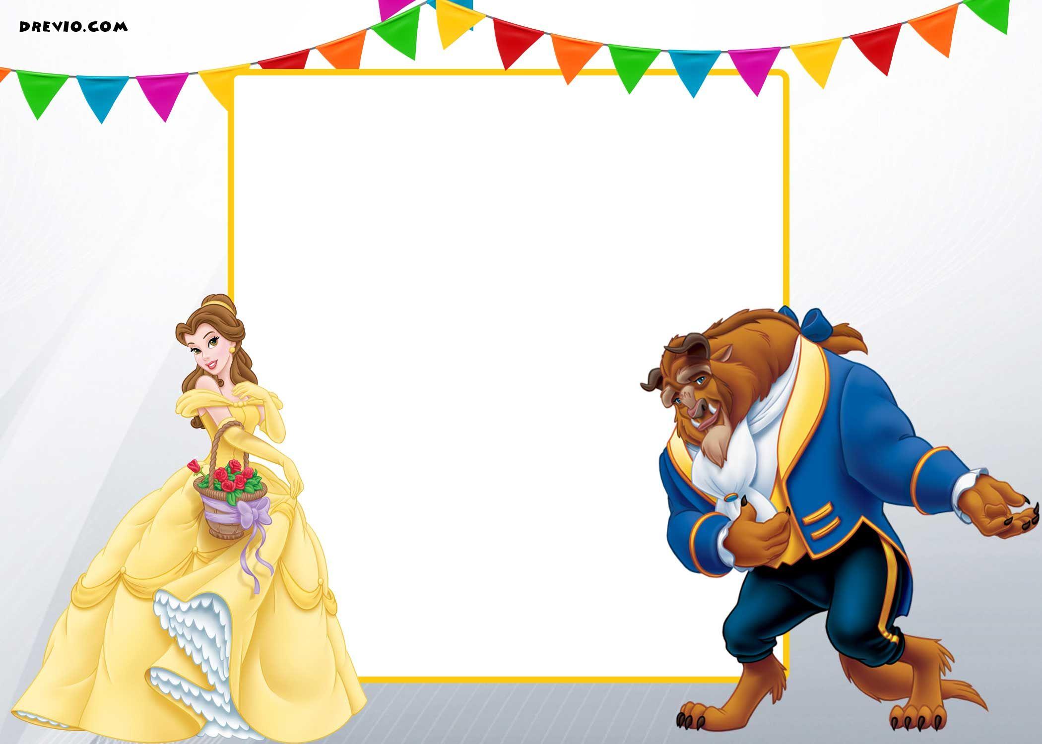 Nice Free Printable Beauty and the Beast Royal Invitation Template ...