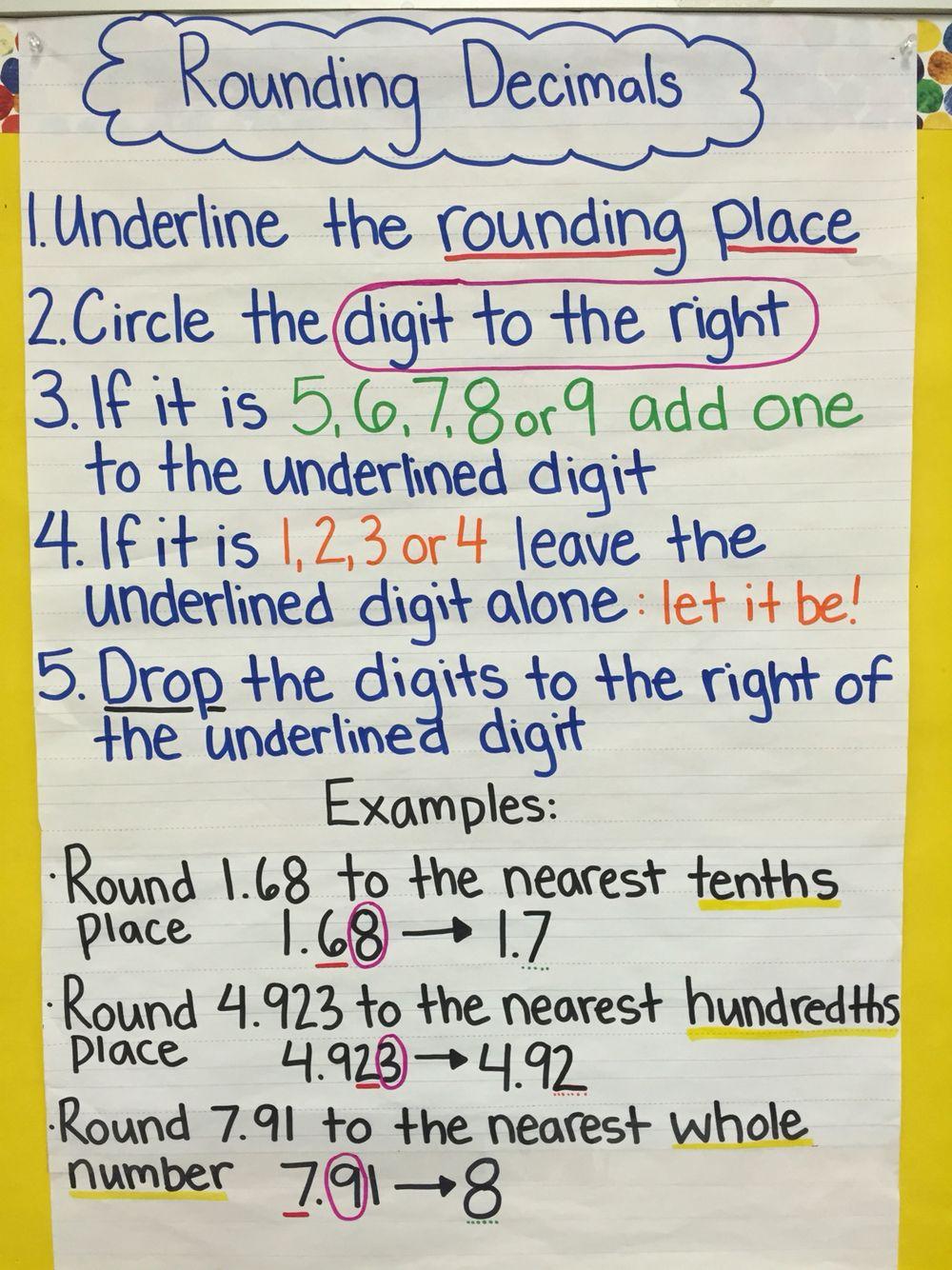 rounding decimals   anchor charts   pinterest   math, math classroom