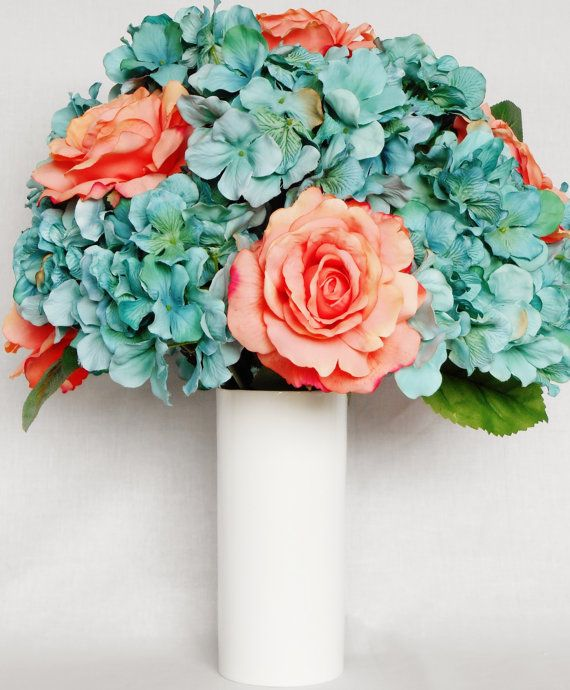 Silk Flower Arrangement Coral Roses Teal Hydrangea White Vase Artificial Fl Flower Arrangements Diy Artificial Flower Arrangements Silk Flower Arrangements