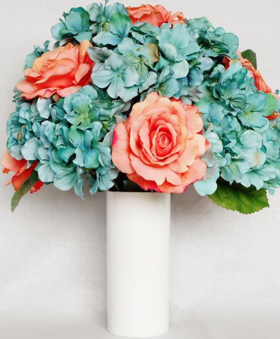 Silk flower arrangement coral roses teal hydrangea