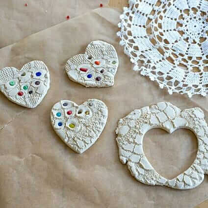 Lace Hearts (Made with Air Dry Clay) Make Beautiful