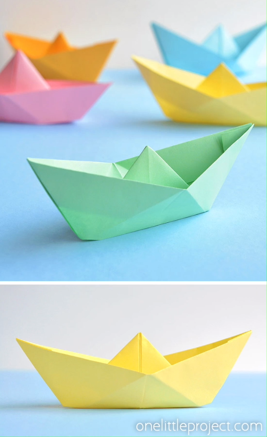 For Kids How To Make A Paper Boat Origami Boat Tutorial Origami Crafts Paper Boat Origami Origami Easy
