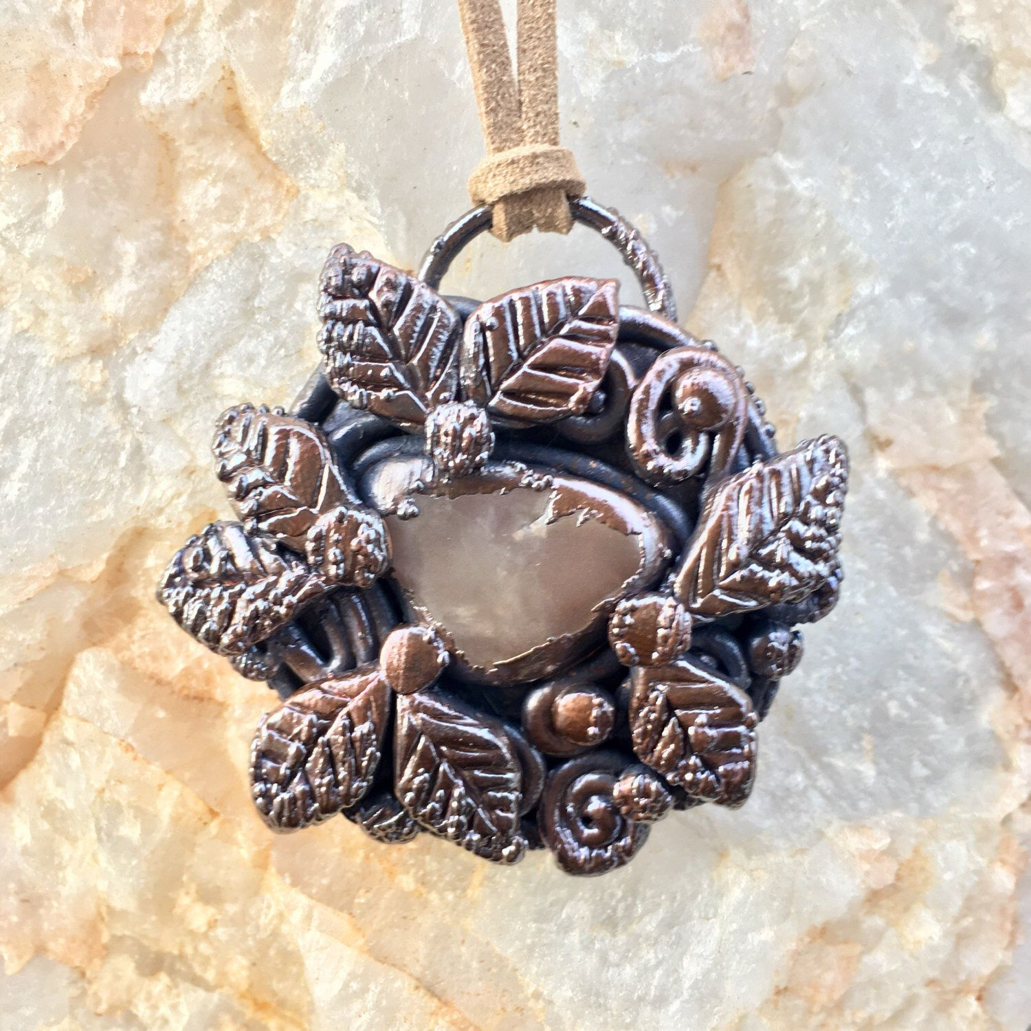 Electroformed pendant- copper pendant- quartz crystal- crystal jewelry - quartz amulet- gemstone and metal- earthy jewelry - by EarthLustDesigns on Etsy https://www.etsy.com/listing/511632047/electroformed-pendant-copper-pendant
