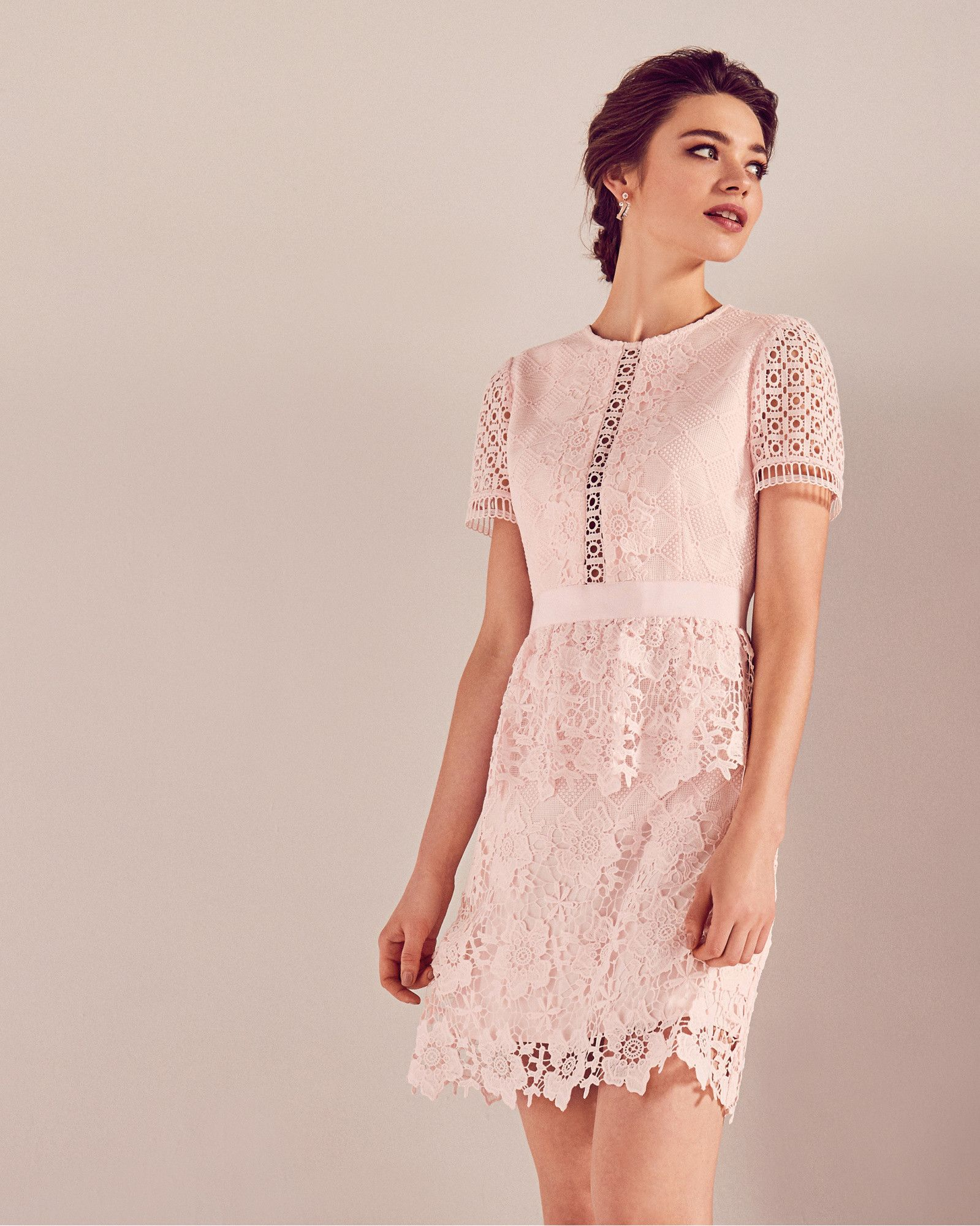 Layered lace dress - Baby Pink | Dresses | Ted Baker | Wedding ...