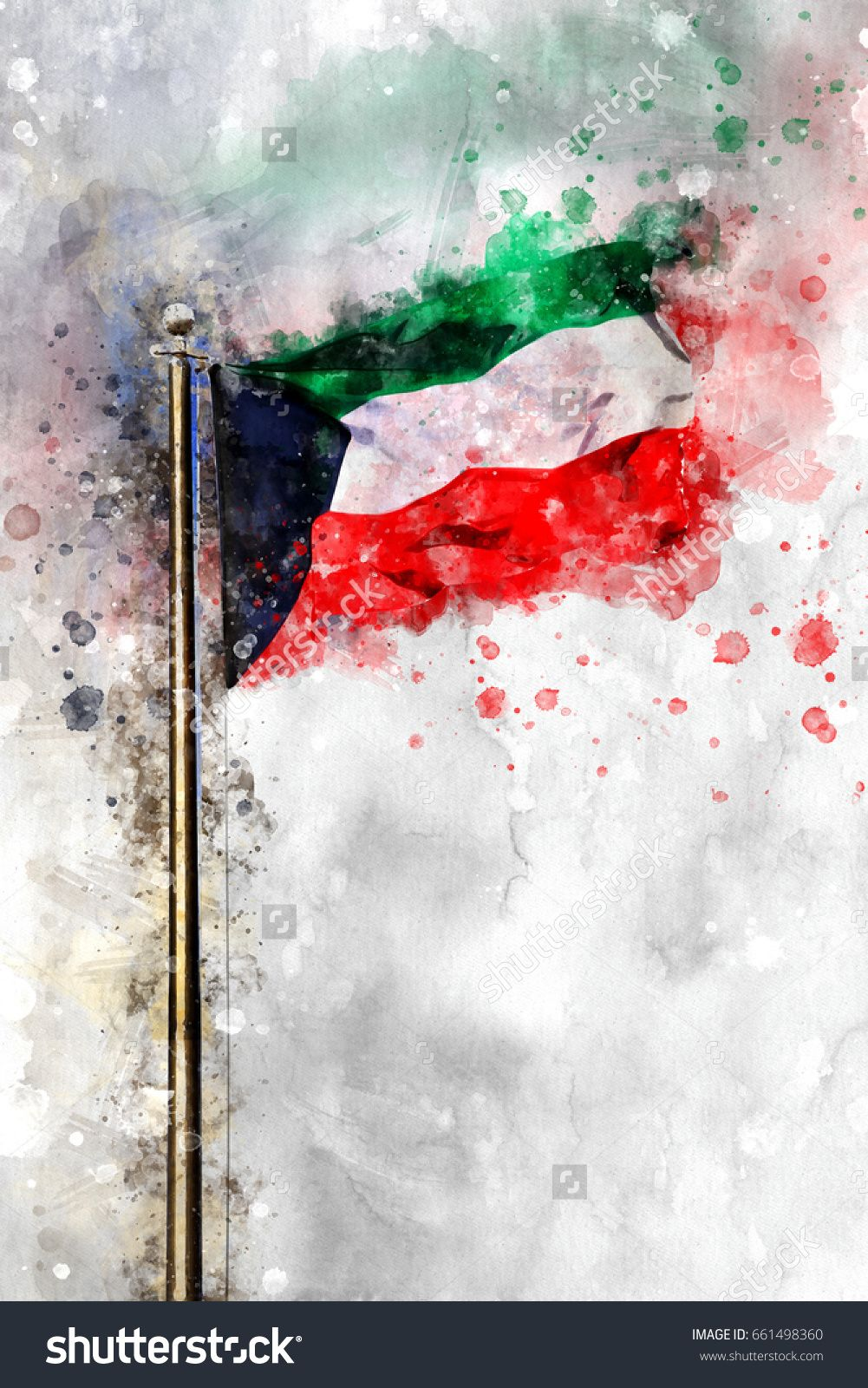 Watercolor Flag Of The State Of Kuwait Kuwait National Day Flag Art Kuwait Flag