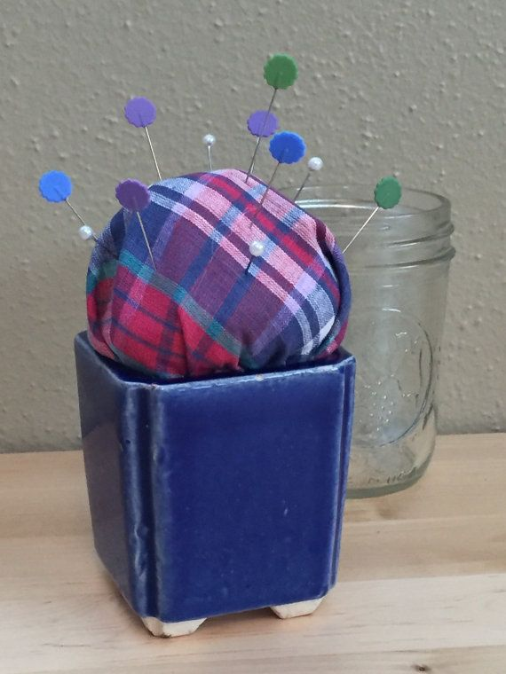 Blue In Bloom Pincushion by SoulStitchersStuff on Etsy
