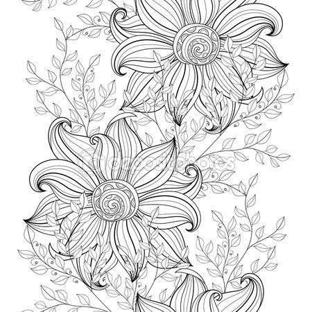 Patrón Floral abstracta monocromo — Vector de stock | Flores y ...