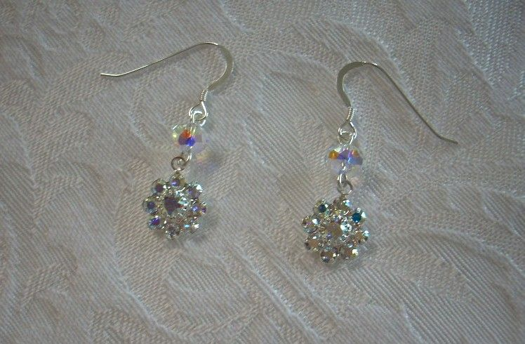 "Earrings Made with Swarovski Crystals 1""1/2"