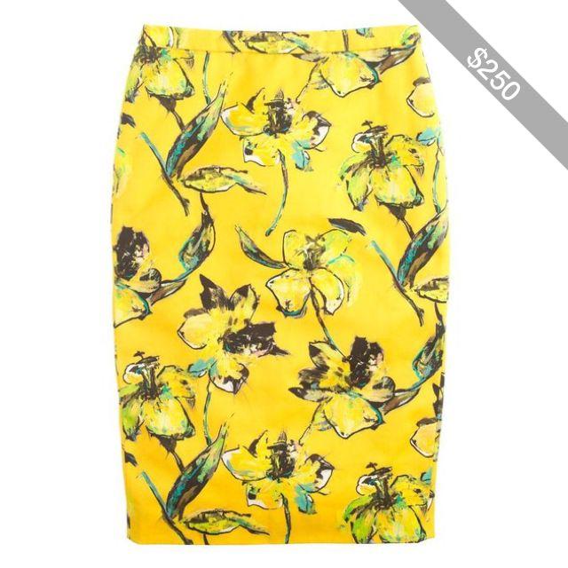 J.Crew Pre-order Collection lemon tiger lily pencil skirt