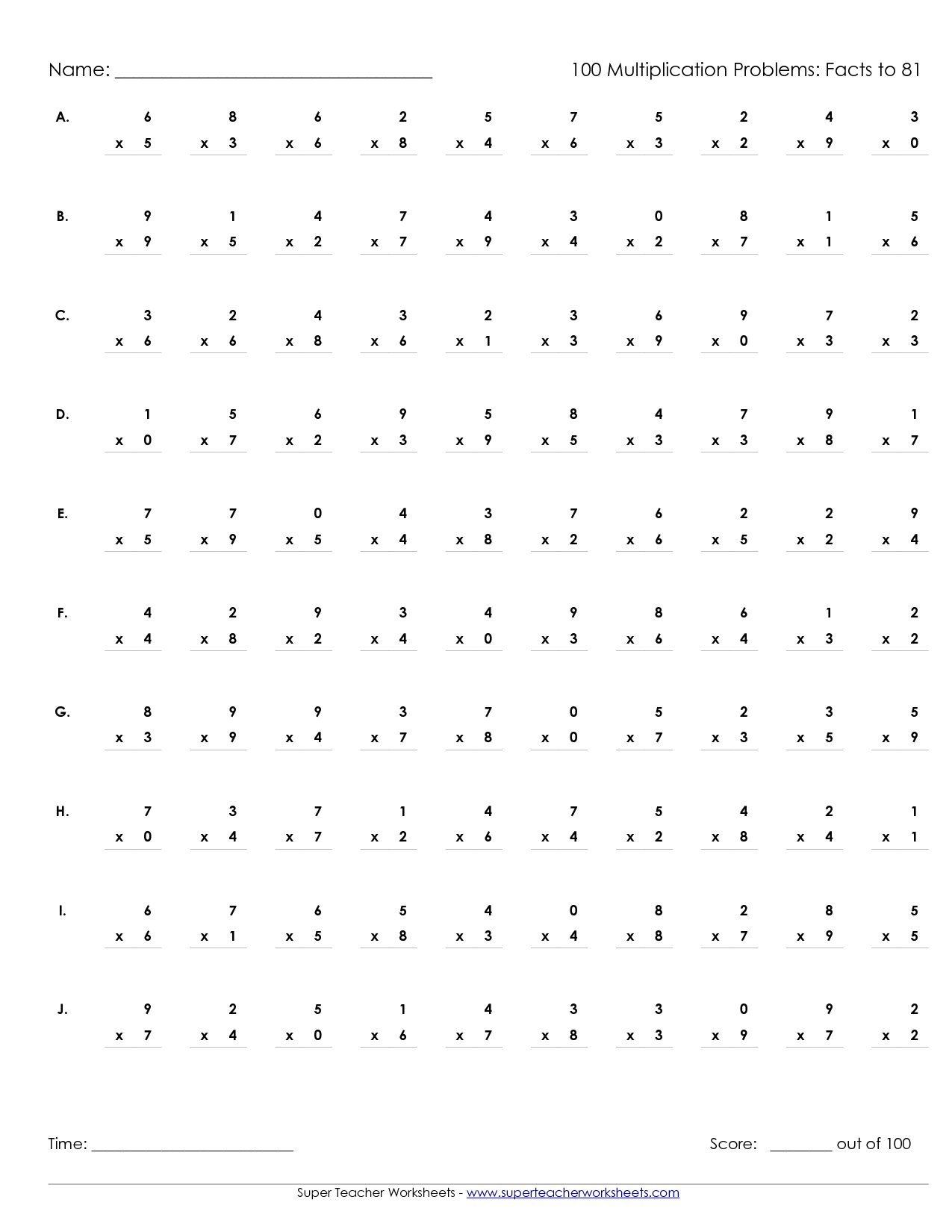 Worksheets Timed Multiplication Worksheets printable multiplication worksheets timed worksheet worksheet