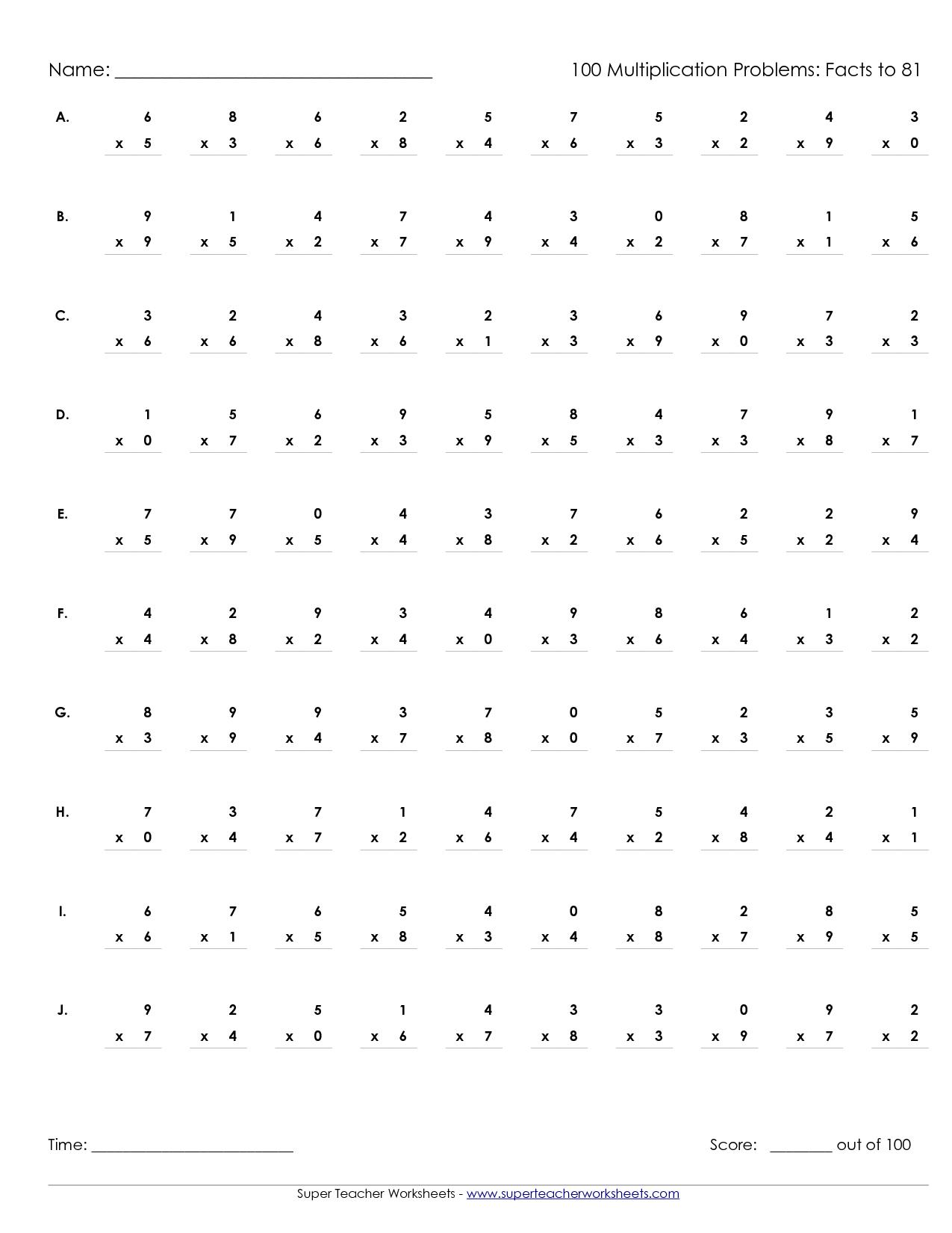Printable Multiplication Worksheets 100 Problems   Multiplication worksheets [ 1650 x 1275 Pixel ]