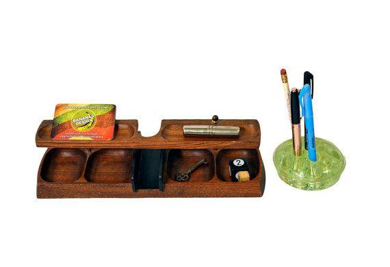 Vintage Wood Desk Organizer Caddy An On Etsy 24 95
