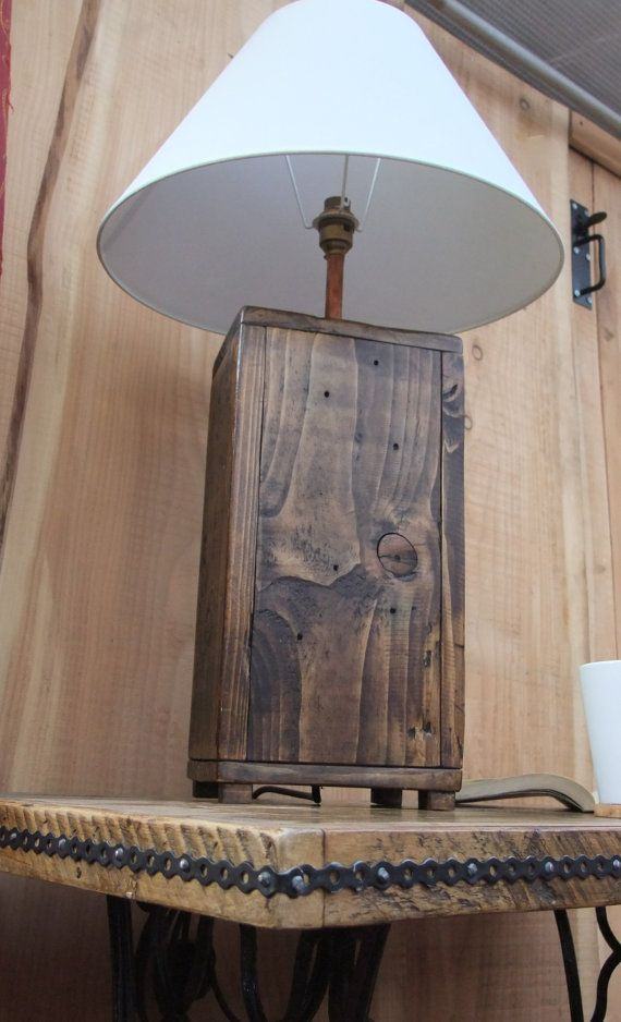 tall rustic wood lamp base chunky reclaimed by newpurposedesign crosses woodwork. Black Bedroom Furniture Sets. Home Design Ideas