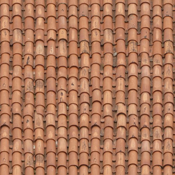 Roof Texture Of Red Shingles With Curved Shape Dokular