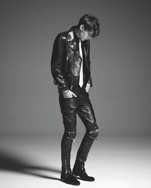 Total Leather Look by Saint Laurent Paris. Ph by Letizia Ragno for Style Magazine @Yves Saint Laurent #saintlaurentparis #hedislimane