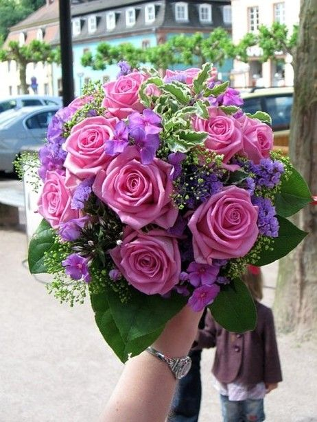 Pink Roses With Purple Hydrangea And Deep Green Accents