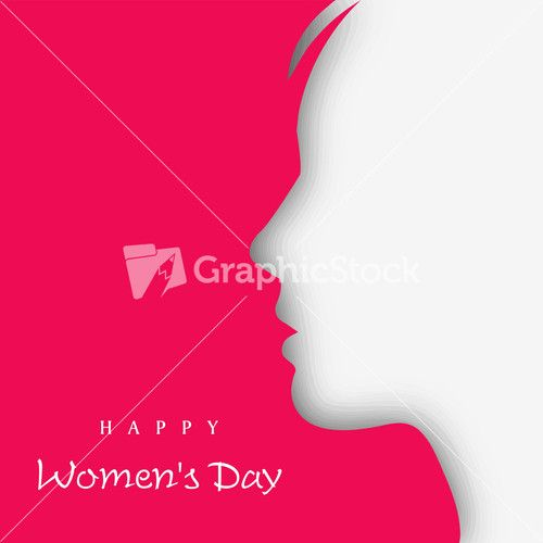White Silhouette Of A Women On Pink Background For Happy Women's Day.