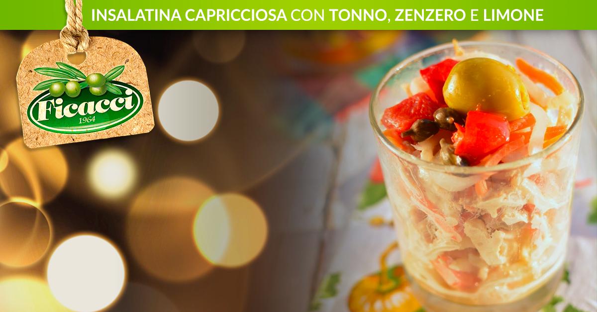 Insalatina Capricciosa con Tonno allo Zenzero Ingredienti: -2 vasetti di filetti di tonno sott'olio -una spruzzata di succo di limone -3 fette sottili di radice di zenzero fresco -1 vasetto di insalatina -1 cucchiaio di capperi all'aceto di vino -170 gr di olive verdi farcite di peperone (Ficacci) -1 vasetto piccolo di maionese all'aceto balsamico  Procedimento: Scola il tonno dell'olio in eccesso e spezzettalo grossolanamente. Spruzzalo di succo di limone,...