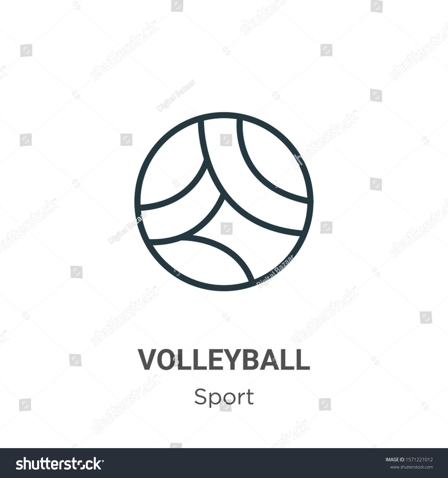 Volleyball Outline Vector Icon Thin Line Royalty Free Image Vector In 2020 Vector Icons Thin Line Vector