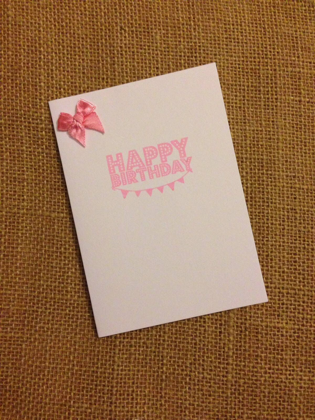 Bow Birthday Card Plain Simple Less Is More Happy Birthday