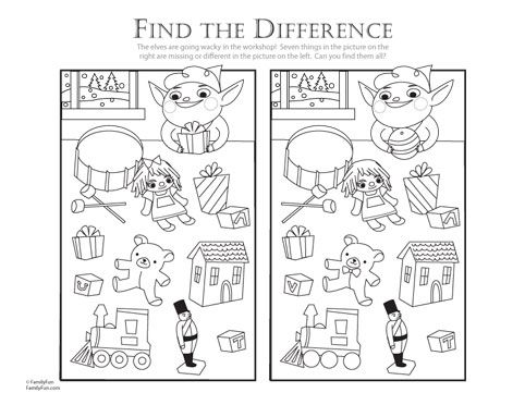 Find the Difference Help the Elf! - Printable Christmas Activity - new christmas coloring pages for preschoolers printable