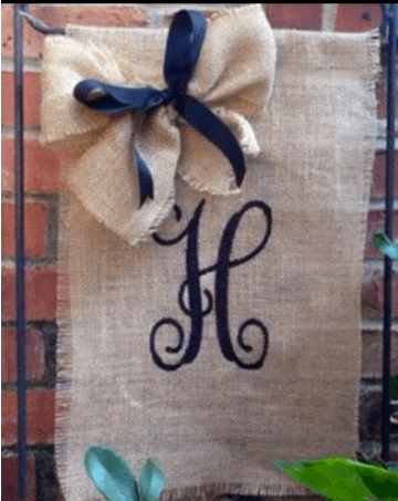Monogrammed Burlap to welcome guests: http://www.countryoutfitter.com/style/country-decor-10-charming-accessories-25/?lhb=style