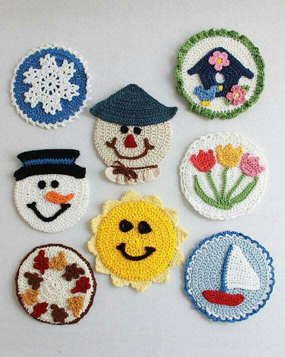 Four Seasons CD Coasters Crochet Pattern PDF By Maggiescrochet