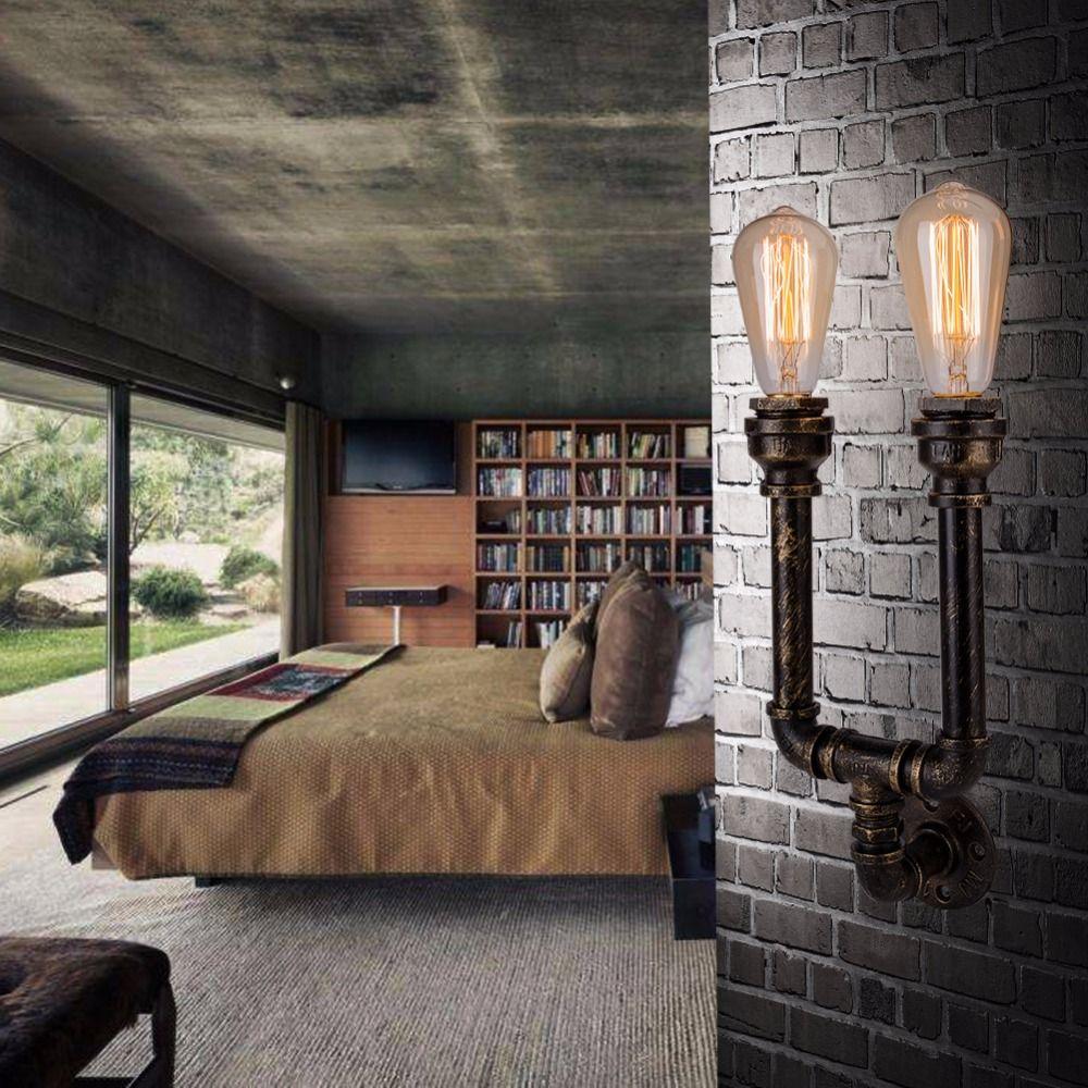 2 bedroom loft   Heads American Vintage Industrial Iron Water Pipe Wall Lamps