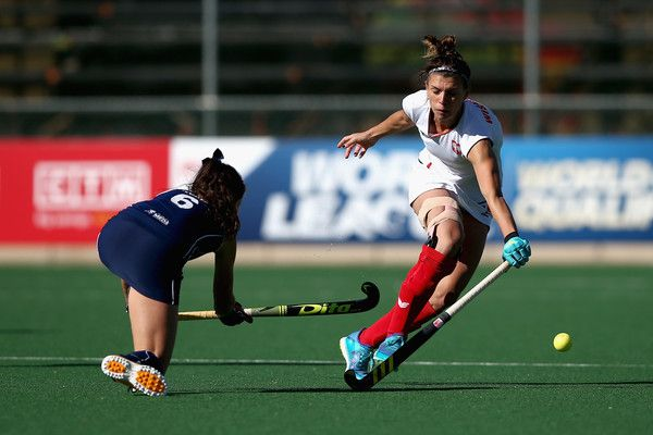 Natalia Wisniewska of Poland and Fernanda Flores of Chile battle for possession during the 9th/10th Place playoff match between Poland and Chile during Day 7 of the FIH Hockey World League - Women's Semi Finals on July 20, 2017 in Johannesburg, South Africa.