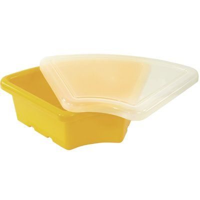 Offex Children Fan Cubby Bin with Lid Color: Yellow